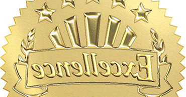 Embossed gold sticker that says Excellence